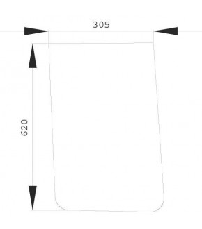 1020-KA3 JOHN DEERE / CLAAS / RENAULT - szyba przednia dolna P /L ,RT6005010157