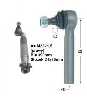 2017-UK12 Końcówka kierownicza 390mm ,Stożek 24x26mm, Prawa Case ,1968473C1