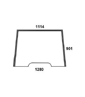 3020-KA3 Szyba przednia zielona z nadrukiem Massey Ferguson,3902148M1